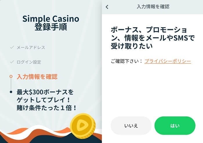 Simple Casino ニュースレター購読