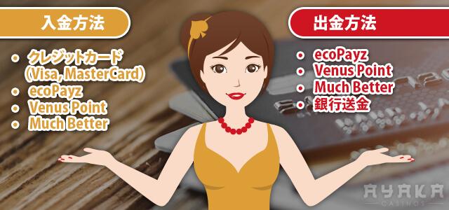 ビデオスロット カジノ入出金方法